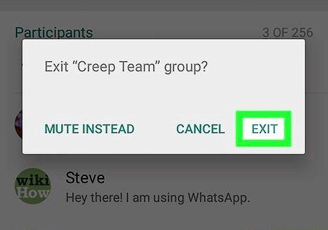 एंड्रॉइड चरण 7 पर व्हाट्सएप पर एक समूह को हटाएं