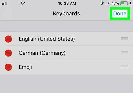आईफोन या आईपैड चरण 8 पर एक कीबोर्ड को अक्षम करें