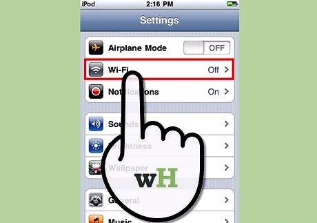 आईपॉड टच चरण 2 पर इंटरनेट शीर्षक वाली छवि